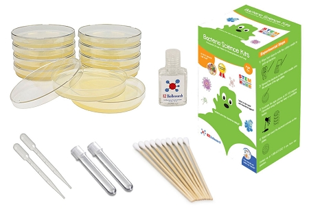 EZ BioResearch Bacteria Science Kit (I): Pre-poured LB Agar Plates and Cotton Swabs, E-Book for Science Fair Project with Award Winning Experiments (I Gift Pack)